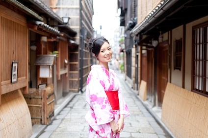 japanese kimono woman walking on street